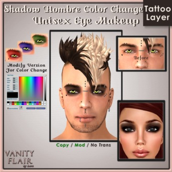 Shadow Hombre Eye Makeup w Color Change - Unisex Modifiable Makeup Tattoo Layer