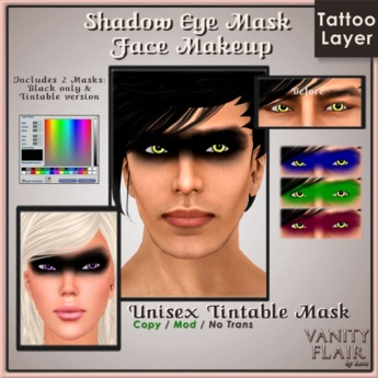 Shadow Eye Mask Makeup - Unisex Tattoo TINTABLE Face Makeup