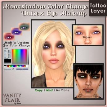 Moonshadow Eye Makeup w Color Change - Unisex Modifiable Makeup Tattoo Layer