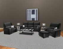 Menu Driven Multi Pose Black Leather Furniture Set by Artisan Prefabs