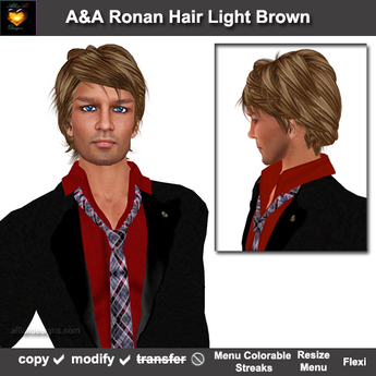A&A Ronan Hair Light Brown. Mid-length mens hairstyle with menu colorable show/hide streaks