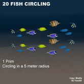 1 prim 20 fish circling 10 m diameter