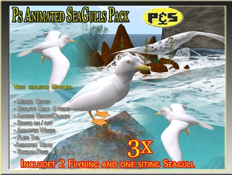 3x Ps Realistic Seagull  Birds Pack Sculpted Animal