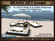 Wicker / Rattan Set Sofa, Lounger, Chair & Parasol for Beach & Patio - brown -
