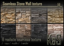 <K&S> Seamless Stone Wall texture (8 textures) Full Perm.