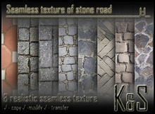 <K&S> Seamless texture of stone road (8 realistic textures) Full Perm.