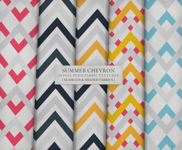 Summer Chevron ♥ { 42 full perm fabric textures - seamless & shaded }