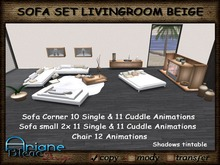 Living Room Sofa Set beige Nr. 36 Couch,Lounger,Chair,Table,Fireplace & More
