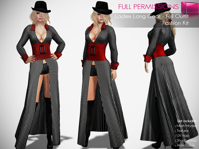 Full Perm Rigged Mesh Ladies Long Coat Full Outfit - Fashion Kit