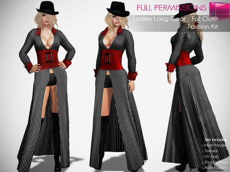 %50WINTERSALE CLASSIC RIGGED MESH Women's Female Ladies Deep Cleavage Long Sleeve Long Coat with Belt & Hat & Stockings