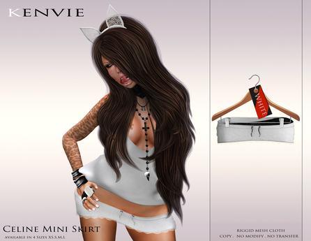 KENVIE . mesh Celine Mini Skirt White