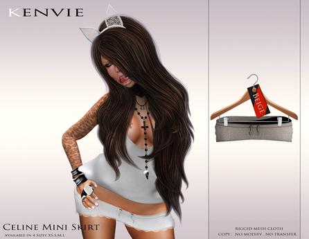 KENVIE . mesh Celine Mini Skirt Beige