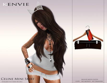 KENVIE . mesh Celine Mini Skirt Brown