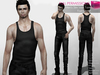 FULL PERM CLASSIC RIGGED MESH Men's Male Sleeveless Tight Tank Top - 3 TEXTURES White Black Grey