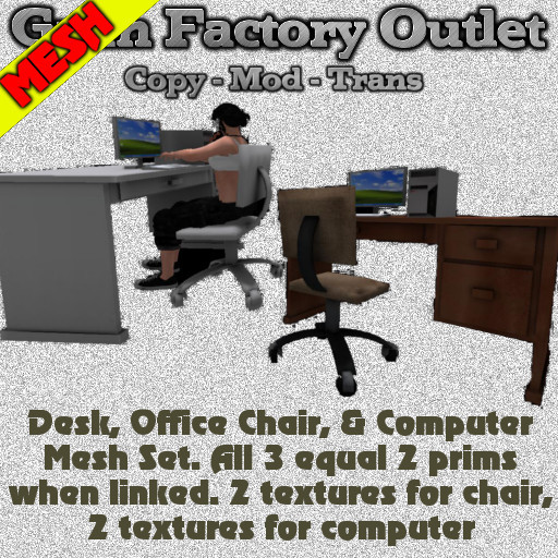 Desk,Chair & Computer Mesh Pack (BOXED)