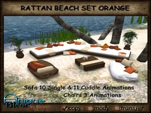 Rattan Seat Set Sofa & Chairs for the Beach & Terrace orange