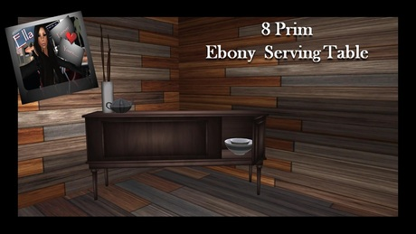 Ebony Serving Table - With Accessories