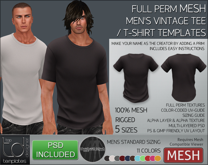 -TD- TEMPLATES - Mens MESH Vintage Tee / T-Shirt *FULL PERMS*