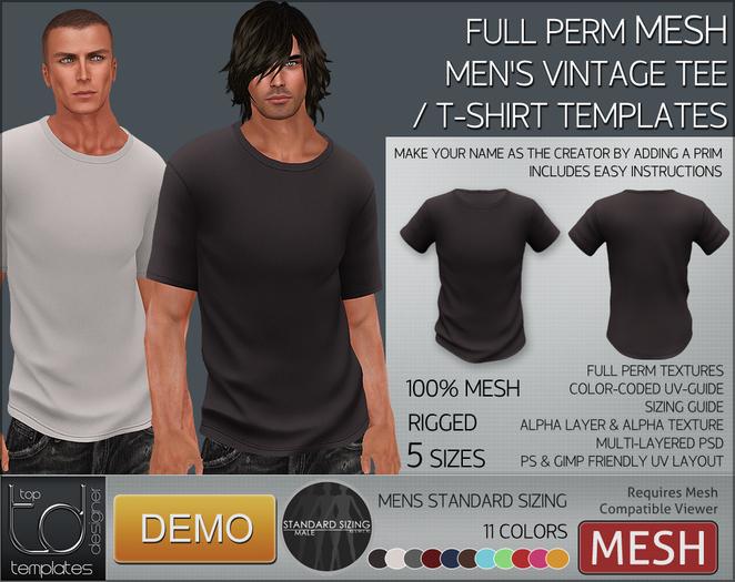 -TD- TEMPLATES - Mens MESH Vintage Tee / T-Shirt DEMO