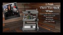 FYE - White 3 Tier Shelf with Accessories