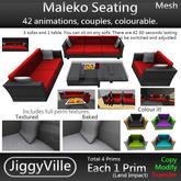 Maleko Seating - Mesh - Low Prim - 42 Anims - Couples