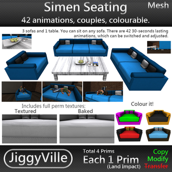 Simen Seating - Mesh - Low Prim - 42 Anims - Couples
