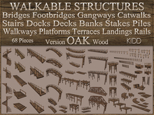 KIDD Kit * OAK Wood * 68 Pieces * Bridges Footbridges Gangways Stairs Decks Banks Walkways Terraces * Copy Mod