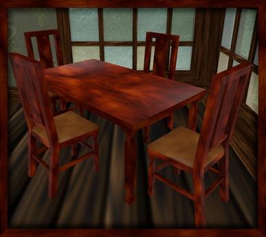 Dark Mahogany Chair And Table