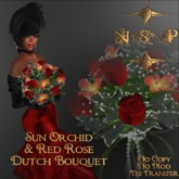 NSP Sun Orchid & Red Rose Dutch Bouquet (boxed)