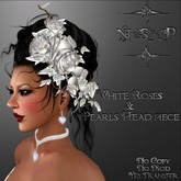 NSP White Roses & Pearls Head piece (boxed)