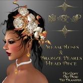 NSP Cream Roses & Bronze Pearls Head Piece (boxed)