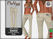 Nadia Mesh corduroy jeans pants - Beige