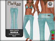Nadia Mesh corduroy jeans pants - Aqua