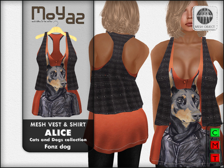 Alice Mesh vest and shirt ~ Cats and Dogs collection Fonz Dog