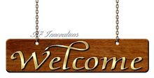 Wooden Welcome Sign on Chains