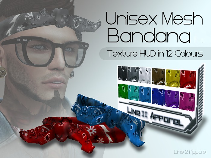 Line2 Apparel * Unisex Mesh Bandana + Texture HUD in 12Colours