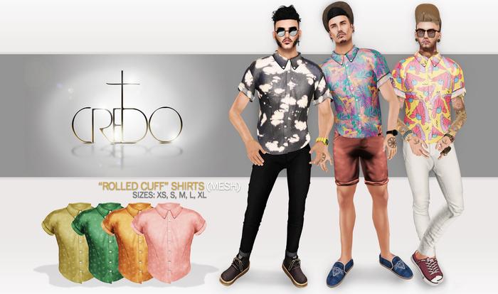 CREDO - 'Rolled Cuff' Shirt Swallow Pack Light