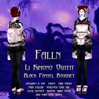 Falln Li Kimono Outfit Black Pastel Bouquet