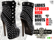 Mesh Head - Black Studded High Heel Boots - Ones Size Fits All