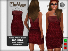 Donna mesh party dress ~ Glitter collection - Red ruby