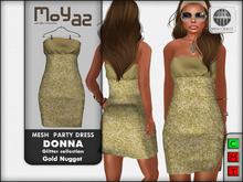 Donna mesh party dress ~ Glitter collection - Gold nugget