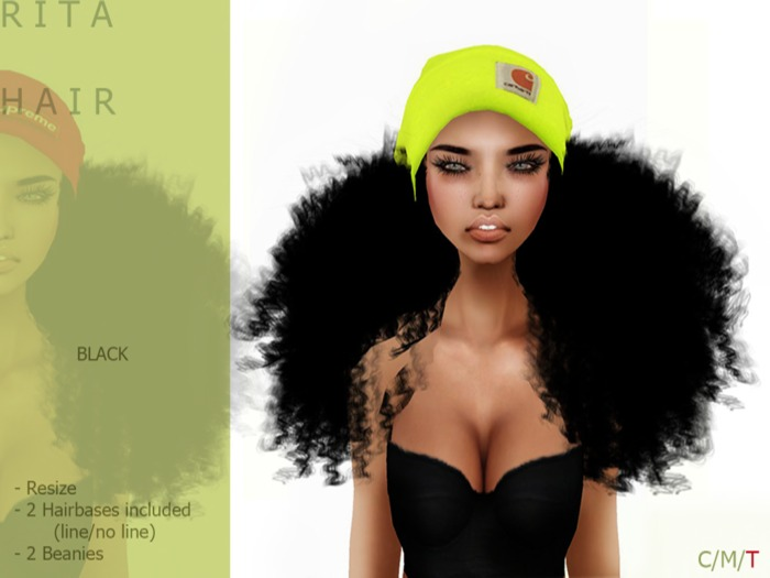 R I T A Hair Dark BEANIE - By Naomie Dirval
