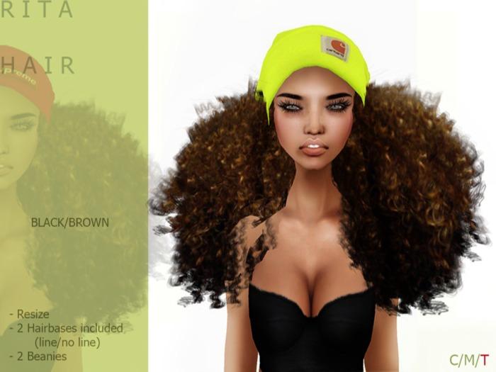 R I T A Hair Drk/brown BEANIE - By Naomie Dirval