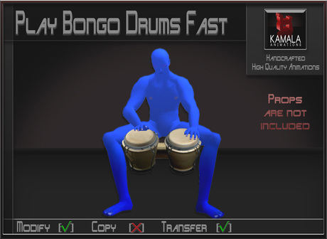 Musical *Play Bongo Drums Fast* Transferable Poseball