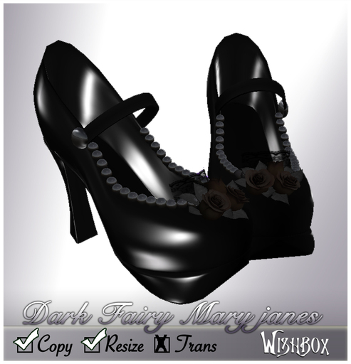 [Wishbox] Dark Fairy Bridal Maryjanes (Black) - Mary Jane Heels Shoes Pumps Goth Gothic