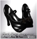 [Wishbox] Dark Fairy Bridal Maryjanes (Black) - Mary Jane Heels Shoes Pumps Goth Gothic