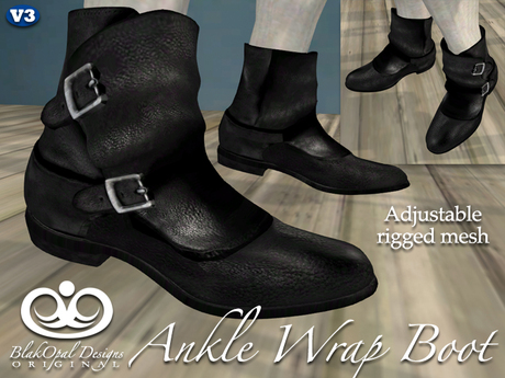 Ankle Wrap Boots For Men - Black [Fitted Mesh]