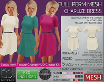- TD Templates - Mesh Ladies Charlize Dress w/ MESH Texture Changer HUD Creator Kit