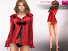CLASSIC RIGGED MESH Women's Female Long Sleeve Ruffled V-Neck Sexy Shirt Lingerie with Bow - 3 TEXTURES