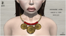 MiWardrobe - Japanese Coin - Necklace - Gold & Red - B